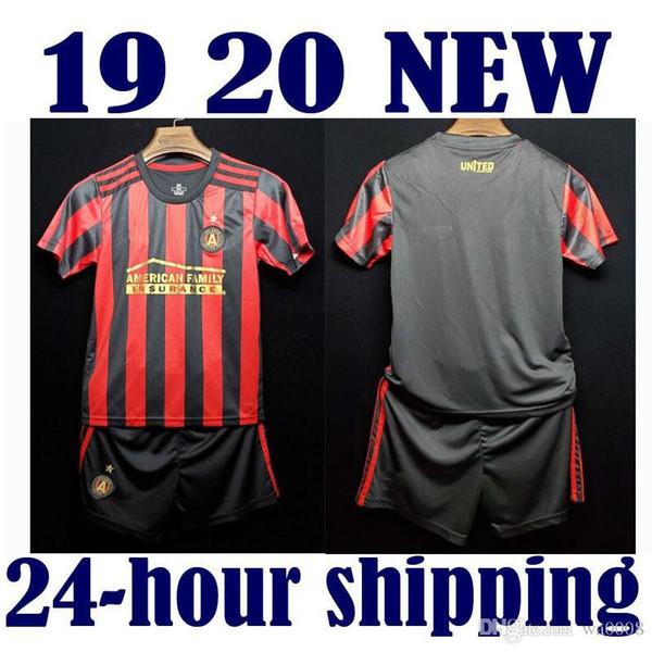 2019 2020 Crianças Kit MLS Atlanta Unida Camisas de Futebol em casa 2019/20 casa preto # 7 MARTINEZ Menino Camisas De Futebol Camisas De Futebol Da Criança + calças