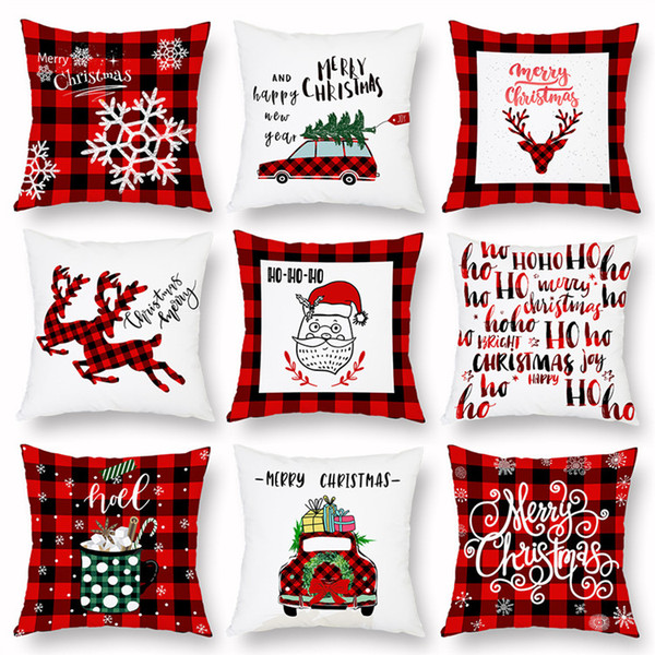 regalo del favor de Cubiertas del amortiguador Funda de almohada de Navidad tela escocesa Feliz Navidad del árbol de navidad ciervos Camión Cojín Partido decorativo del hogar 30pcs T1I1661