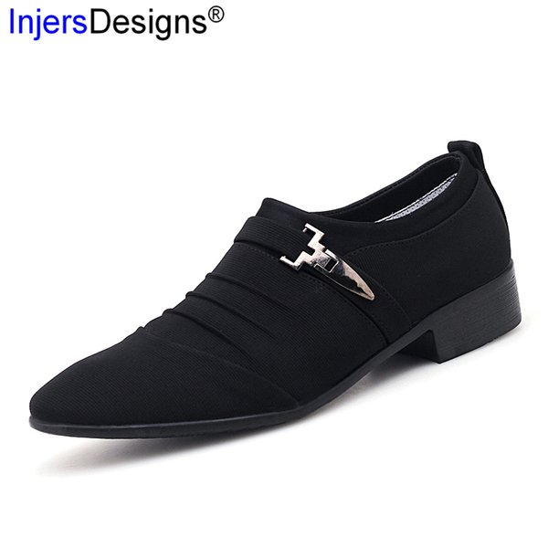 British Style Formal Shoes For Men Oxfords Fashion Canvas Pointed Toe Business Shoes Male Flats Man Dress Zapatos Big Size