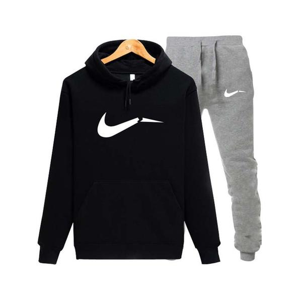 2019 spor erkek markası baskılı spor takım elbise bağlama dikiş pantolon + hoodie spor takım elbise siyah gri pembe chándal hombre