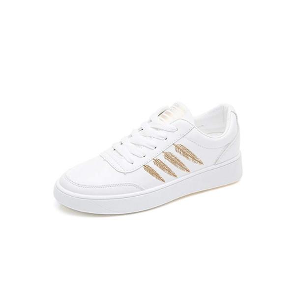 Torisky Novas Sapatilhas Brancas Mulheres Verão Sapatos de Lona De Couro Liso Sapatos de Tabuleiro Branco Feminino Moda Folhas Homens Casuais