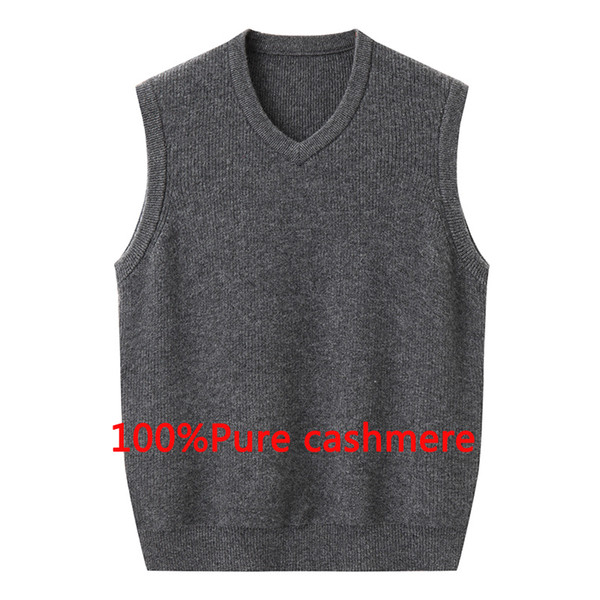 new fashion high quality Pure Cashmere Men Winter Thickened Sweater Male Casual Knitted V-neck Vest, Sleeveless plus size S-5XL