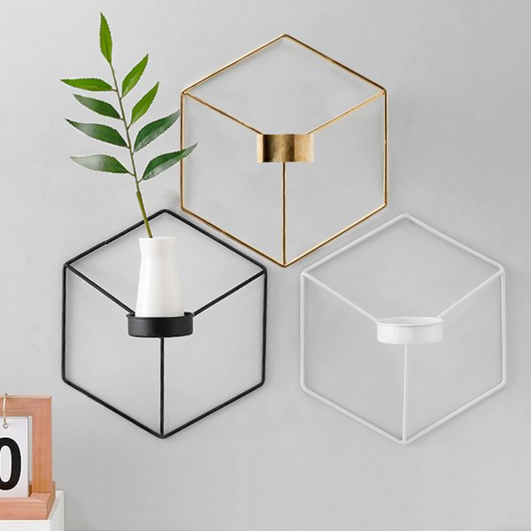 Simple Style 3D Geometric Candlestick Metal Nordic Wall Candle Holder Sconce Matching Small Tealight Scandinavian Home Ornaments