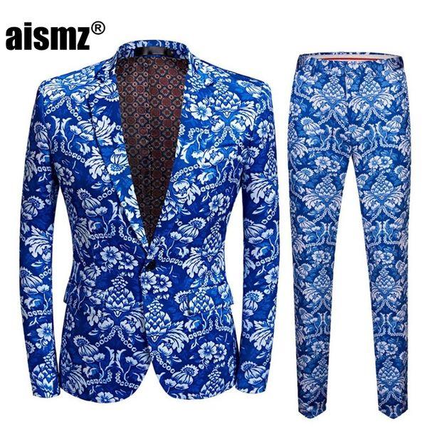 Aismz Yepyeni Erkek Vintage Mavi Çiçek Baskı Slim Fit Pantolon Artı Boyut 5XL Veste Homme Mariage Damat Düğün Suit ile Suits