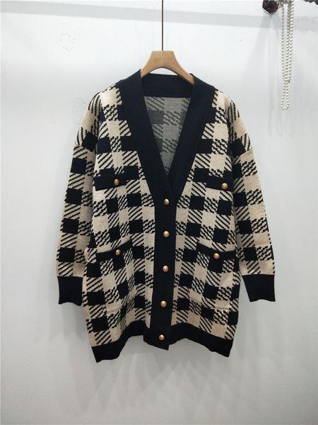 Herbst 2019 neuer Art und Weise Pullover Strickjacke loser beiläufiger schwarzer und weißer Streifen Plaid lange Ärmel V-Ausschnitt Strickjacke Jacke lang