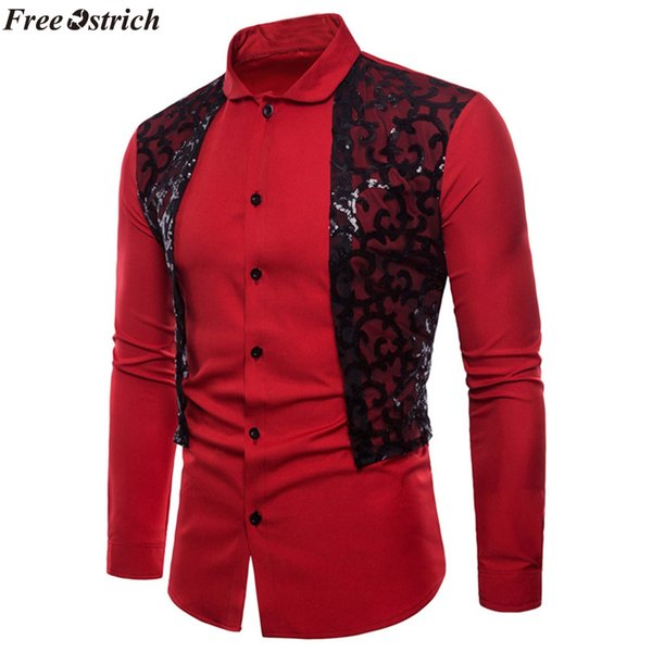 FREE OSTRICH Men Shirt Brand 2019 Male Long Sleeve Oxford Formal Casual Suits Slim Fit Tee Male Shirts European size big