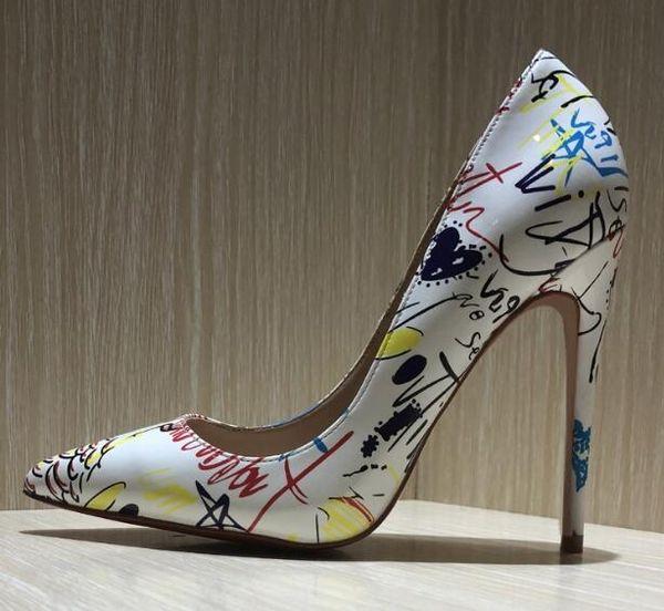 Livraison gratuite 120mm mode femmes pompes blanc impression en cuir verni pointe bout orteil talons hauts chaussures bottes en cuir véritable talon fin