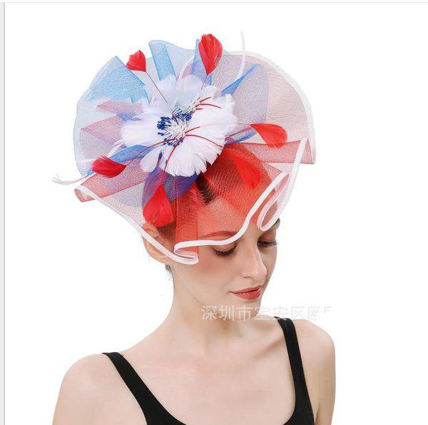 Bride headdress European and American NET hat dinner party feather headdress hairpin