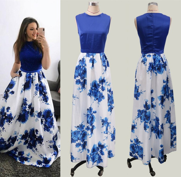 top popular Royal Blue Printed Long Women Party Dress 2019 Cheap Summer Boho Flora Printed Women Occasion Evening Prom Party Gowns yl57-2067 2019
