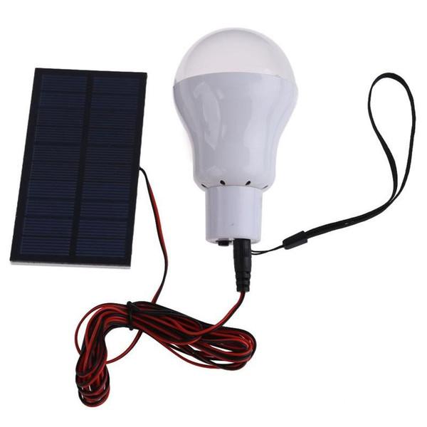 Lampe solaire à LED Système d'éclairage extérieur / intérieur à LED Lampe d'ampoule Panneau solaire Voyage de camp de faible puissance utilisé Éclairage de jardin 15W