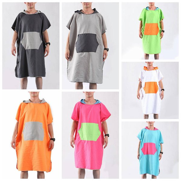 Beach Changing Clothes Bath Towel Colorful Hooded Quick Dry Swimming Poncho Outdoor Sports Swimming Water Uptake Robes CLS399