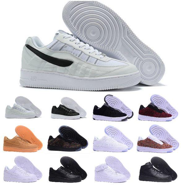 2019 Новый дизайн Forces Мужчины с низким Скейтборд обувь Дешевые Один Унисекс 1 Knit Euro Air высокофорсированных Женщины Все Белый Черный Красный Повседневная обувь