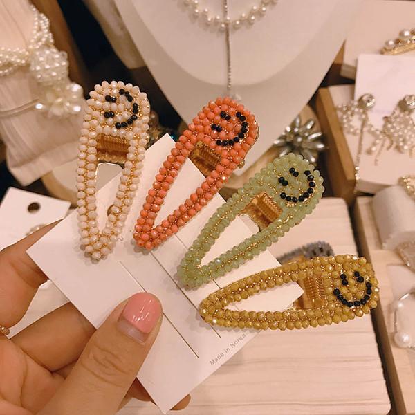 cara sonriente diamante niñas pinzas para el cabello pinzas para el cabello diseñador de moda mujeres pasadores accesorios para el cabello para mujeres pinzas BB A7531
