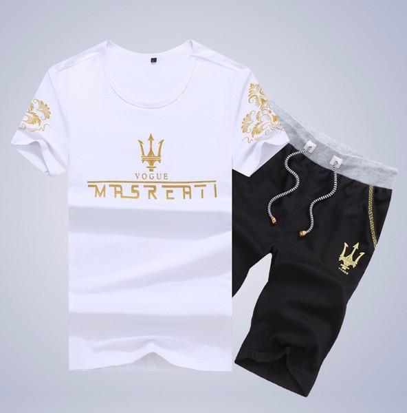 New Chegou Homens T-shirt do esporte homens atender verão Plus Size manga curta O-Neck impressão shirt e calções Define dos homens Sportswear M-5XL