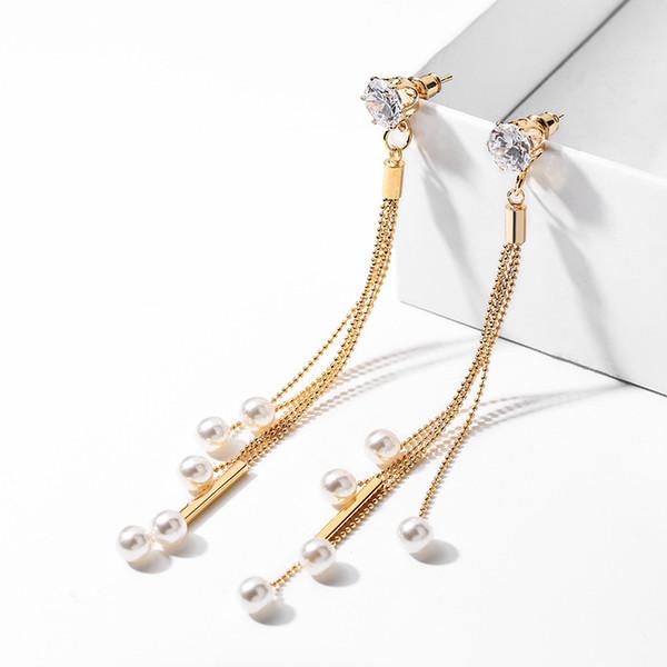 Top Quality New Korean Tassel Design Non Pierced Ear Clip Earings For Bridal Wedding Party Fashion Imitation Pearl Earrings Bijoux Gift