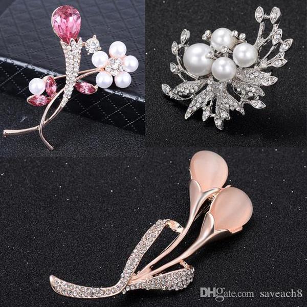 Groom bride corsage Crystal Wedding Flower Brooches Leaf brooch for Women Elegant Fashion Rhinestone Brooches Pins