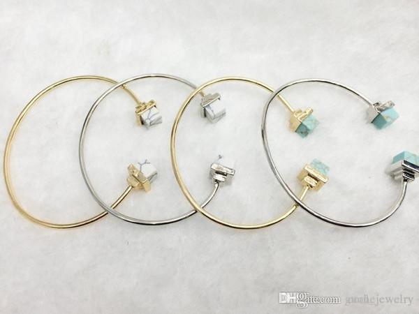 Heiß-verkauf mode blau weiß türkis vergoldet manschette armbänder armreifen neuankömmling personalisierte schmuck für frauen