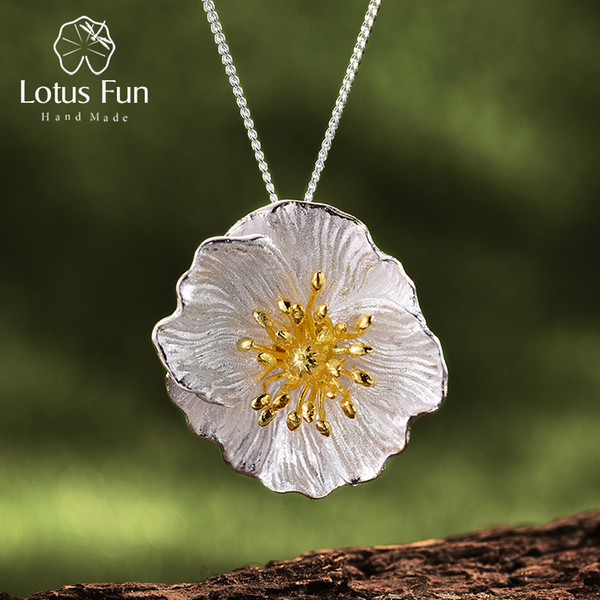 Lotus Fun Real 925 Sterling Silver Handmade Fine Jewelry Blooming Poppies Flower Pendant Without Necklace For Women Y19051602