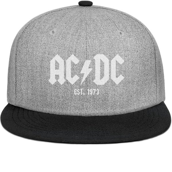 ACDC rock band Est. 1973 mens and womens flat brim hats black snapback cool custom hats custom kids make your own fashion Design your own