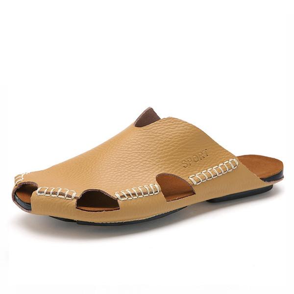 Yeni Yaz Erkek Ayakkabısı İngiliz Stili Serin Terlik Popüler Erkek Ayakkabısı Trend One Word Terlik Gelgit.