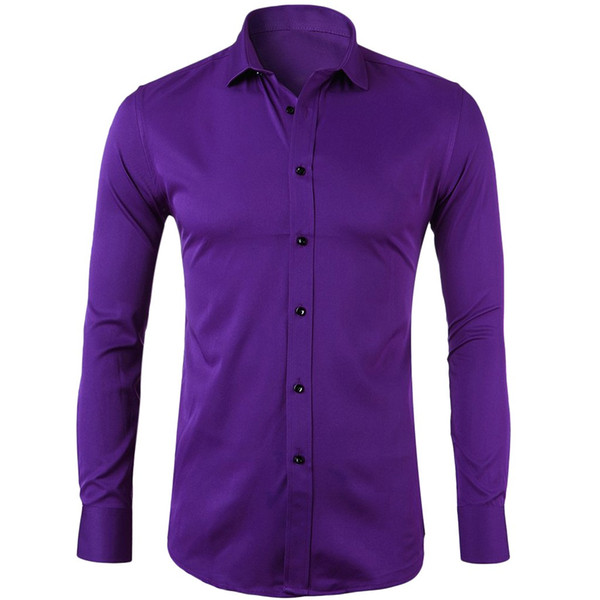 Royal Purple Slim Fit de cetim de seda camisa dos homens 2019 Marca New Long Sleeve Mens Camisas de vestido de festa de casamento de alta qualidade Chemise Homme
