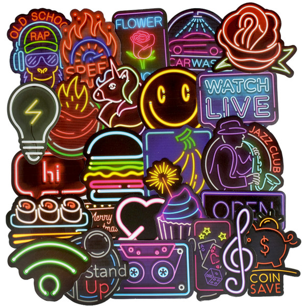 50pcs/pack Neon Light Stickers Anime Icon Kids Toy Cute Decals Sticker for DIY Luggage Laptop Skateboard Motor Car Bicycle Sticker