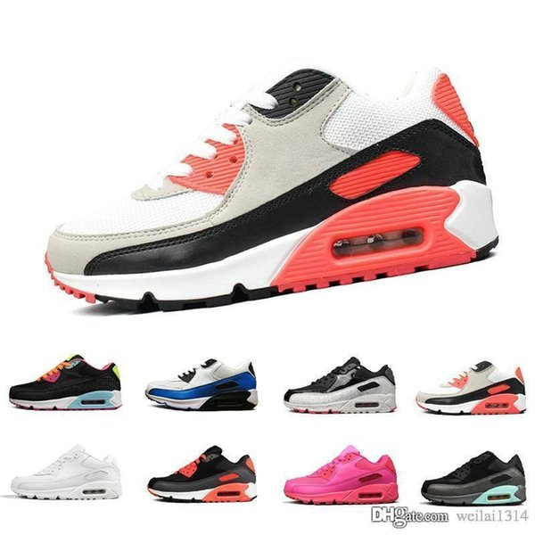 Classic 90 90S Men Running Shoes Infrared Patch Triple Black White Laser Pink Oreo Breathable Trainer Women Sports Outdoor Sneakers 36 45 White Shoes