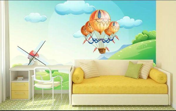 custom size 3d photo wallpaper kids room mural Cartoon scenic hot air balloon 3d picture sofa TV background wall wallpaper non-woven sticker