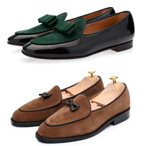 Italienische Designer Männer Samt Müßiggänger mit Bogen Quaste Slip On Flache Schuhe Mokassins Männliches Kleid Casual Prom Schuhe Große Größe 39-46 ert
