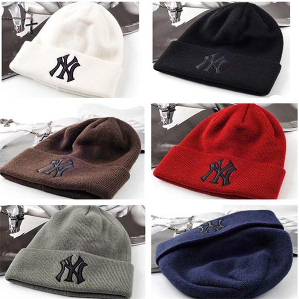 Unisex NY Örme Şapka Tasarımcısı Geri Dönüşümlü Beanie Kış Sıcak Kafatası Kap Fedora Kayak şapka Giymek Kasketleri Şapka Erkekler Kadınlar Açık Kapaklar Satış Sıcak