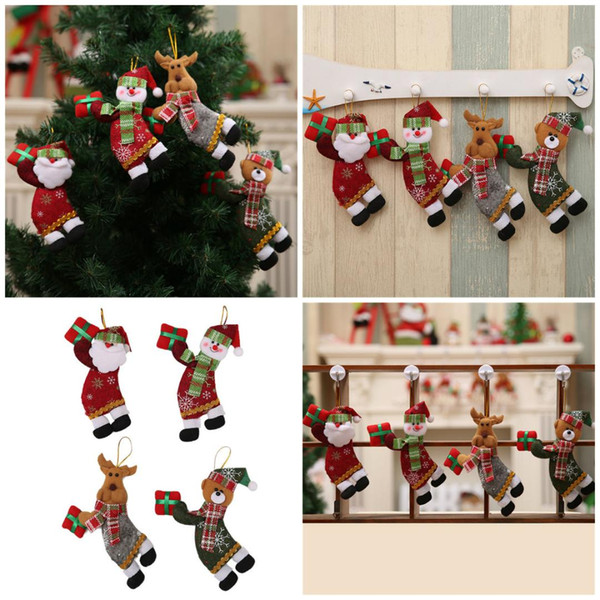 Merry Christmas Ornaments Gift Cloth Christmas Hang Santa Claus Snowman Tree Toy