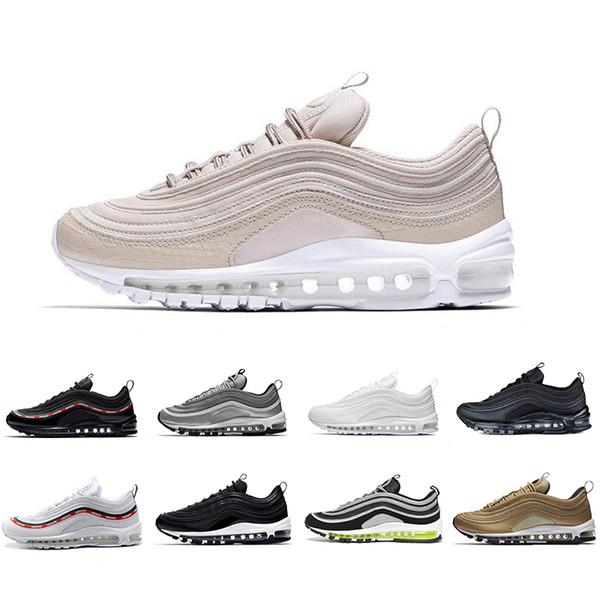 Nike Air Max 97 Pas cher Vente OG QS Tripel Blanc Noir Métallisé Or Argent Bullet PRM BLANC 3M Premium Hommes Chaussures Pour Hommes Femmes ShopPobs Chaussures De Course