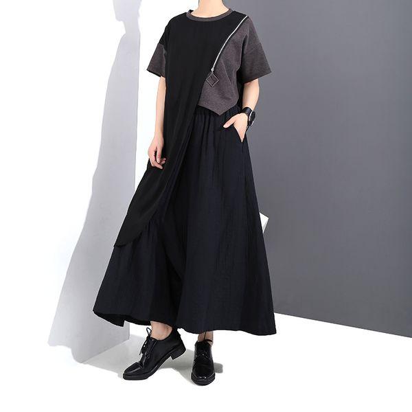2019 New Spring Summer Round Neck Short Sleeve Black Hit Color Mesh Irregular Big Size T-shirt Women Fashion Tide