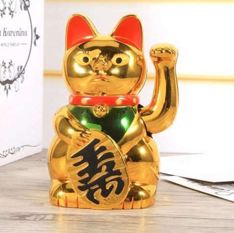 top popular Chinese Lucky Cat Wealth Waving Cat Gold Waving Hand Feng-Shui Lucky Maneki Neko Cute Home Decor Welcome Waving Cat Wholesale 2021