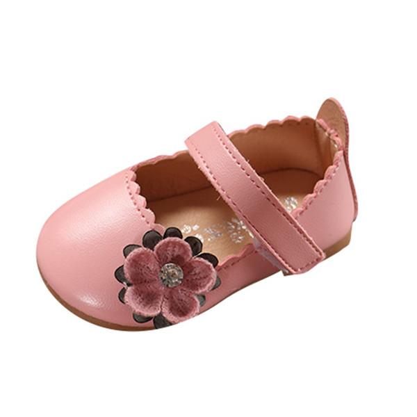 Infant Kids Baby Girls zapatos de cuero suave Niña pequeña Elegante Bowknot princess flat Zapatos de una sola flor