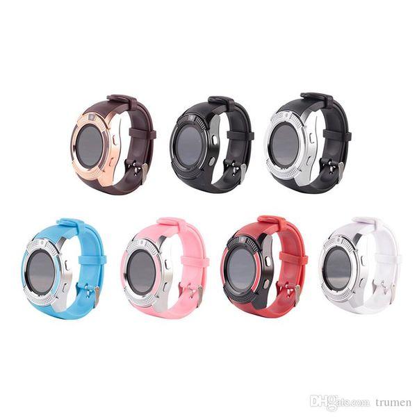 V8 Smart Watch con Smart Card per slot per schede SIM TF Bluetooth Smartwatch per smartphone Android 0.3M Orologi Smart per fotocamera con confezione da DHL