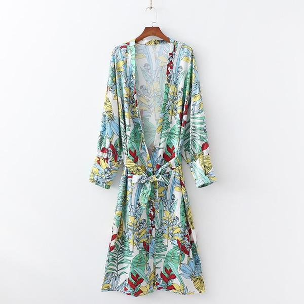 Kadınlar Vintage Uzun Hırka Kimono Sashes Gevşek Uzun Kollu Plaj Partisi Kimono Kadın Elbiseler Çiçek Baskı Plaj Kimono'ları