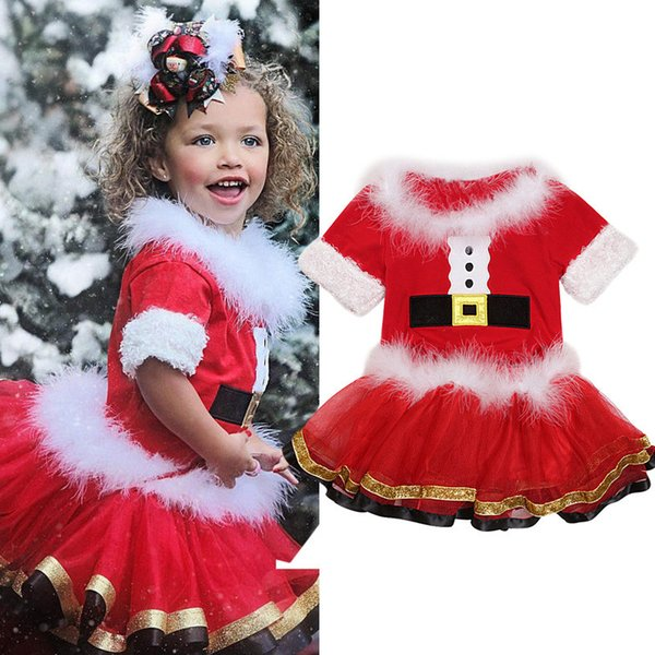 Collar muchachas de la Navidad del vestido fijó Niños ropa de Santa Claus piel camiseta superior + balón vestido de gasa falda del tutú de Navidad 2pcs set equipos del bebé A101101