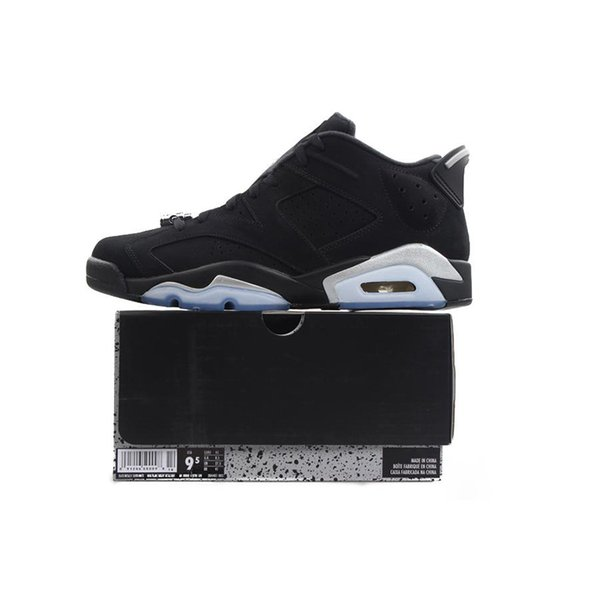 Chrome 6 Low Mens Basketball Shoes 6s Black Metallic Silver White 304401 003 Athletics Sports Sneakers size 7-13 with BOX