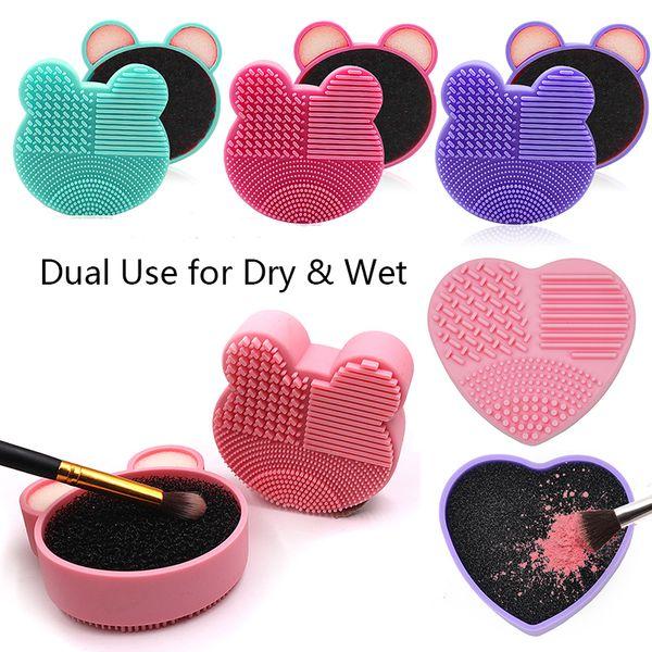 Maquillaje de silicona Limpiador de pinceles Uso doble para esponjas de carbón activadas en seco y en húmedo Esterilla de limpieza estética de belleza Forma de corazón y oso