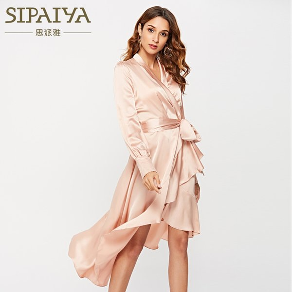 Fall 2019 New Famous Women's Lace with Irregular Lotus Leaf Edge Long Sleeve Dress with Sleek Sexy Silk Surface