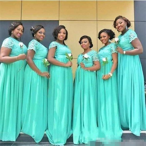 Chiffon Country Bridesmaid Dresses Jewel Neck Short Sleeves mint green Lace Sweep Train Wedding Bridesmaid Gowns Long Party Dresses