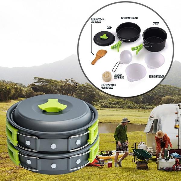요리 장비 용품 키트 접는 Cookset 배낭 여행 기어 스카우트 생존 하이킹 Dishwear 캠핑 아웃 도어 조리기구 세트