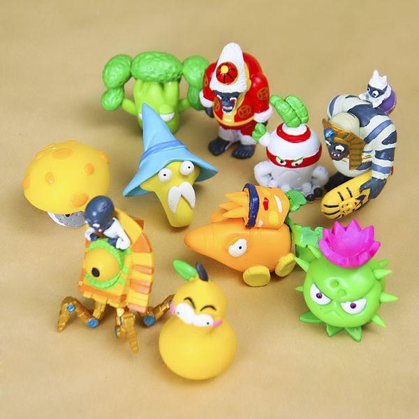 10 pçs / set figuras do jogo plantas vs zumbis 2: é sobre o tempo brinquedo pv figura plantas zombies toys figura modelo do bebê crianças brinquedo de presente