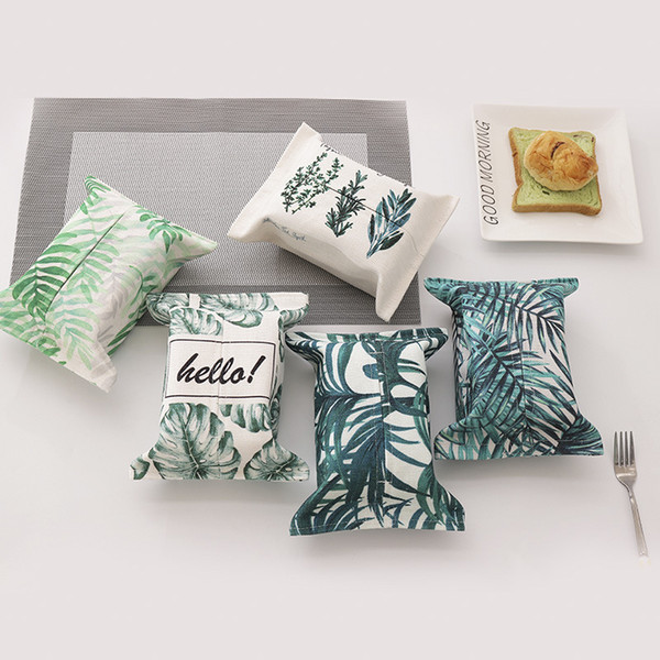Tropical Plants Pattern Tissue Box Plush Home Car Napkin Paper Container Cute Paper Towel Napkin Case Pouch for Home Decoration