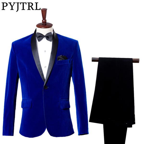 (Jacke + Pants) Bräutigam Smoking Kleid Kostüm Studio Sapphire Royal Blue Samt Slim Fit Anzug Hochzeitsanzüge für Männer Y190418