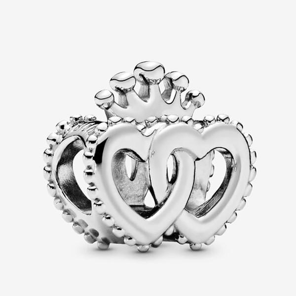 Amala Takı Sterling Cz'den Gümüş 925 Taç iç içe geçmiş Kalpler Charm Boncuk Avrupa Pandora Takı Bilezikler Kolyeler Kolye uyar