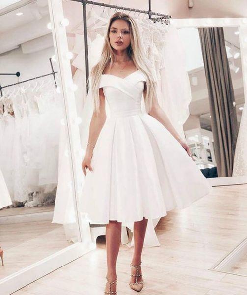 Discount Summer Off Shoulder Short Wedding Dress Simple Knee