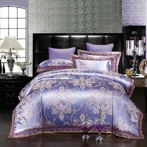 FB1906002TE Top Quality Luxurious Queen Duvet Cover Set Tribute Jacquard Bedsheets Embroidery Home Textle Popular Bedding Set 4pcs/set