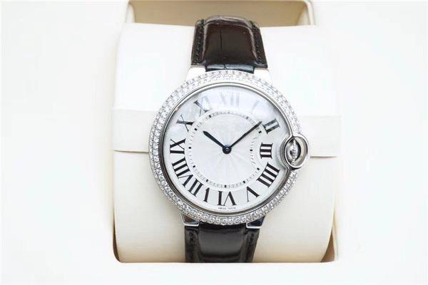 Top Quality WE902056 quadrante bianco automatico cassa in acciaio cinturino in pelle nera meccanica neutro watch 40 mm